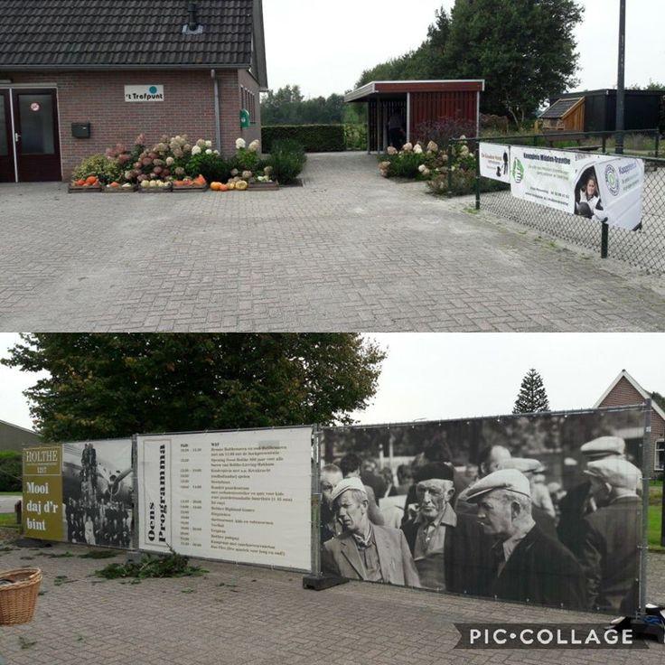 Vanmiddag alvast de spandoeken van de Gouden Hand en Koopplein Midden-Drenthe naar het buurthuis gebracht. Ze zijn druk aan het opbouwen voor morgen. Het is morgen feest in Holthe, Holthe 800 Jaar. https://koopplein.nl/middendrenthe/13688609/de-gouden-hand-en-koopplein-sponsoren-holthe-800-jaar.html