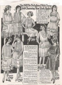 1920's Youth and Teens White summer Dresses- 1922 catalog