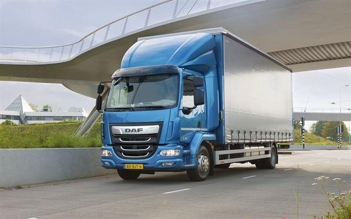 Download wallpapers DAF LF, 2017, small trucks, trucking, cargo truck, New LF, DAF
