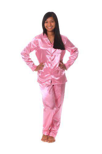 Womens Brushed Back Satin Pajamas