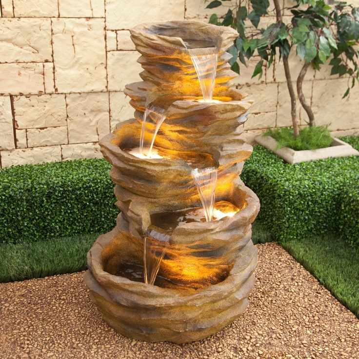 Alpine Five Level Terra Red Pond Waterfall Indoor/Outdoor Fountain   Bring  A Soothing Presence To Your Patio Or Landscaping With The Alpine Five Level  Terra ...