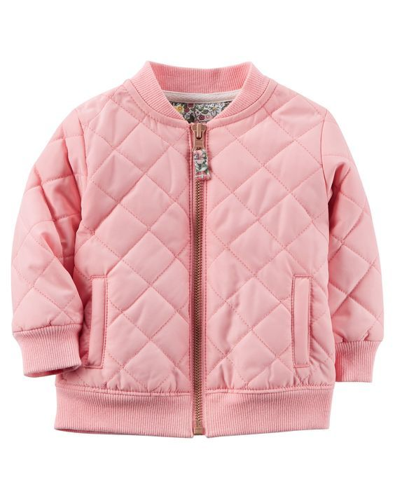 She's pretty in pink in this on-trend quilted bomber jacket. Pairs perfectly with a tunic and leggings.