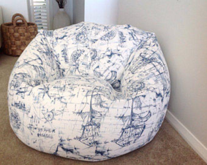 Nautical Bean Bag Blue and White Bean Bag cover Kids Bean Bags Nautical Decor. Schooner, Tall Ships, Sailing