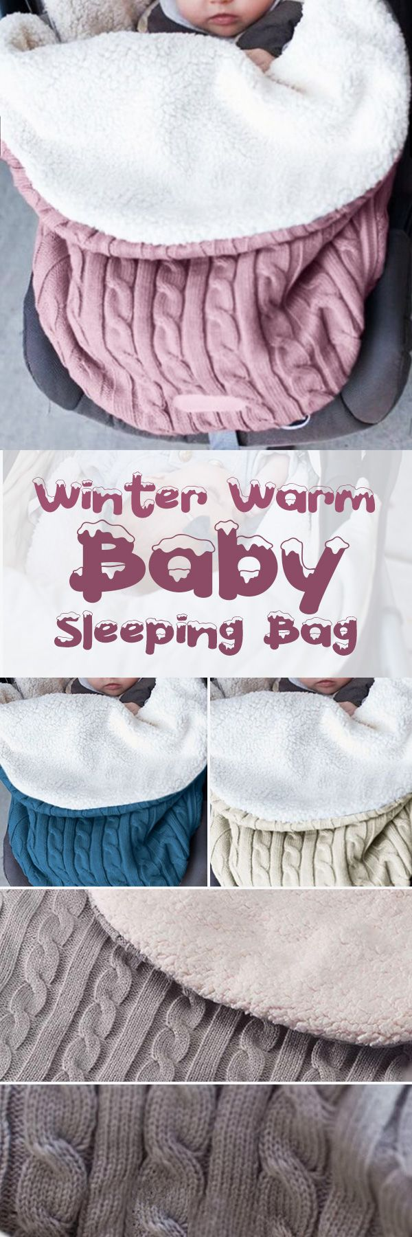 US$17.99 -Baby Sleeping Bag Winter Warm Wool Knitted Hoodie Swaddle Wrap Cute Soft Infant Blanket#newchic#baby#crochet