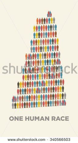 babel tower in isotype pictograms. Isotype poster. One human race.