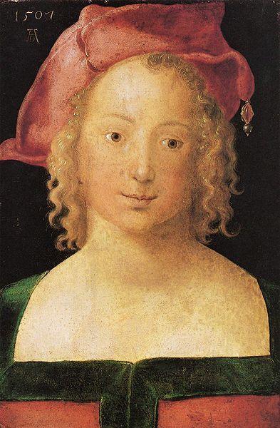 "Albrecht Durer's ""Young Woman"" of 1507 wears hat called a ""barett,"" (I love the…                                                                                                                                                                                 Plus"