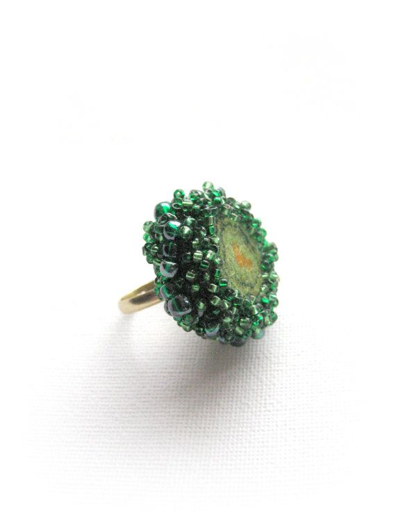 Felted adjustable ring Green whirpool by Feltedcreatures on Etsy, $20.00