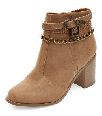Wide Fit Tan Multi Strap Chain Block Heel Boots
