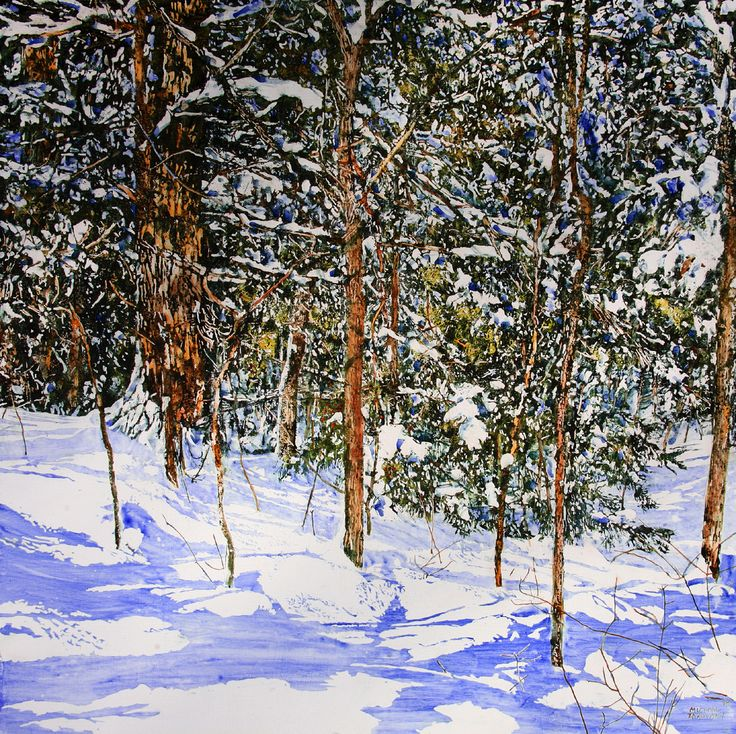 "overnight snowfall 21 40"" x 40"" micheal zarowsky / mixed media (watercolour / acrylic painted directly on gessoed birch panel) private collection"