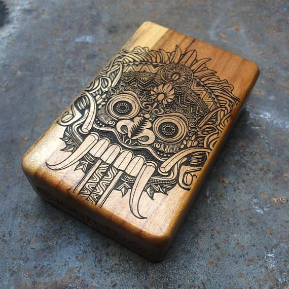 Check out Java Teak Wood Cigarette Case - Balinese Mask on cigarettoss