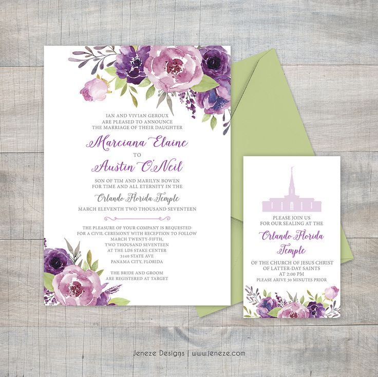 summer wedding invitation wording%0A Purple wedding invitation  Lavender and purple flowers  Spring or summer  wedding  LDS wedding