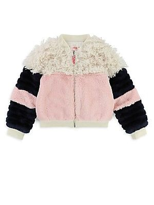 3f5229325 Billieblush - Little Girl s Faux Fur Colorblock Jacket