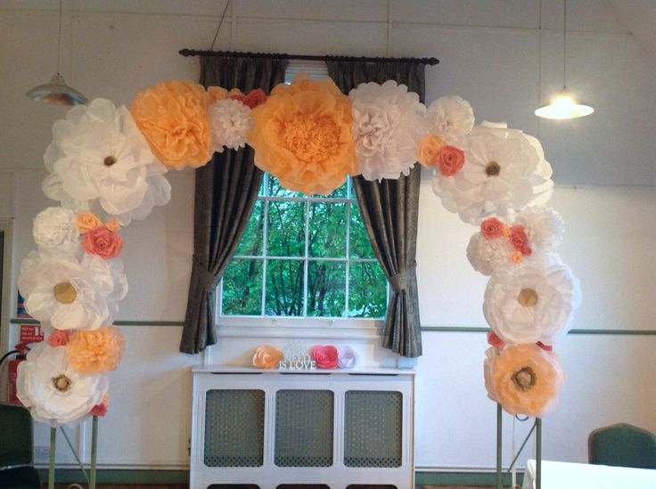 Paper flower arch way