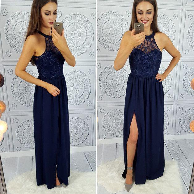 Olivia II - Długa granatowa sukienka - IlluminateComPl - Suknie wieczorowe