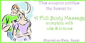 Love coupon for one sensual massage.