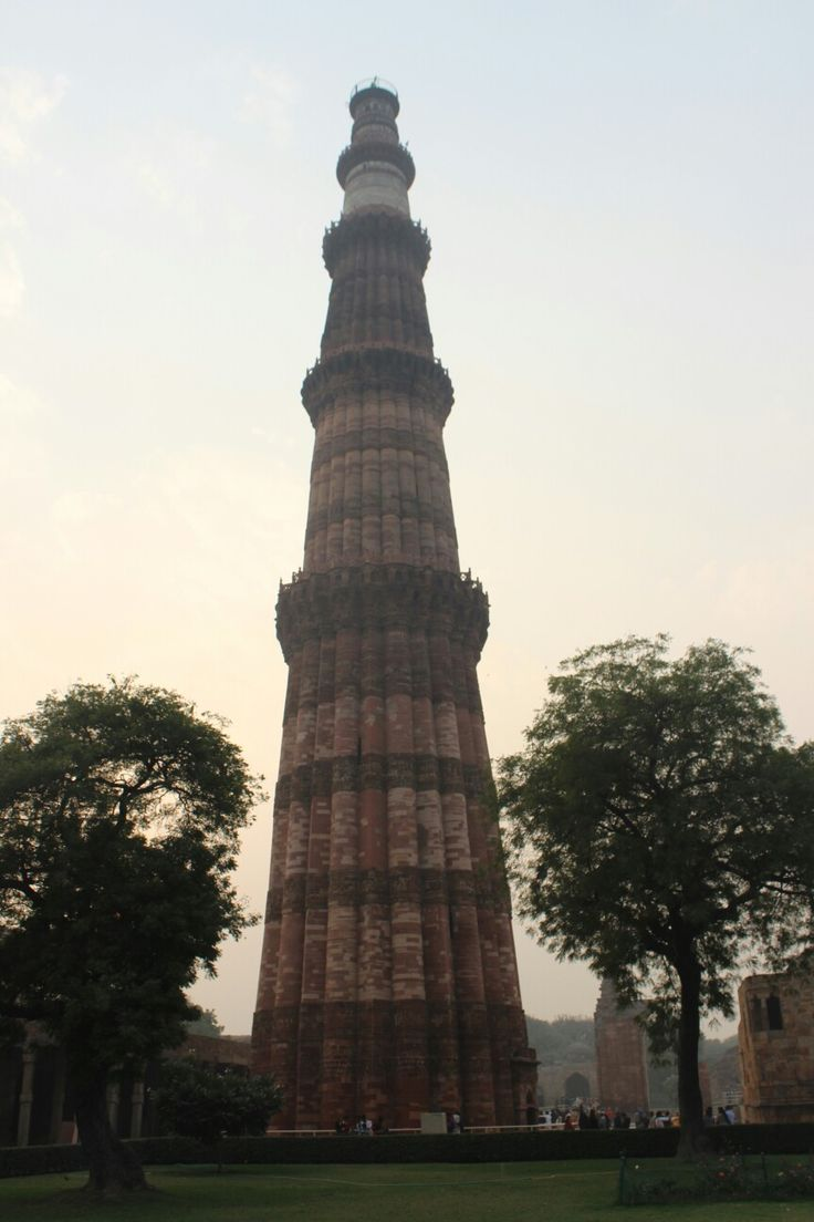 Different view of the Qutub Minar in New Delhi, India. One of the most outstanding pieces of Medieval India