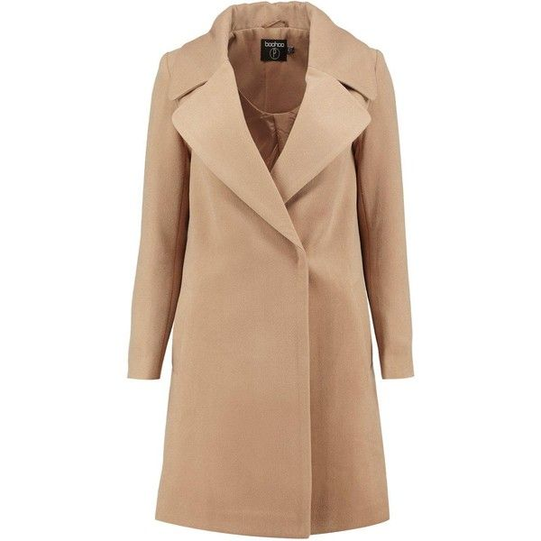 Boohoo Petite Rebecca Oversized Camel Collar Coat | Boohoo ($62) ❤ liked on Polyvore featuring outerwear, coats, jackets, coats & jackets, oversized coat, beige coat and petite coats