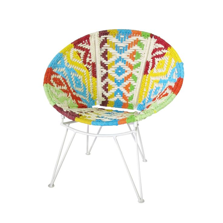 Relax among friends or cozy up with some evening reading in this charming bohemian chair. This stunning Serra Lounge Chair features a round seat with gorgeously woven multicolored patterning. Add this ...  Find the Serra Lounge Chair, as seen in the #ElectricBoho Collection at http://dotandbo.com/collections/electricboho?utm_source=pinterest&utm_medium=organic&db_sku=109405