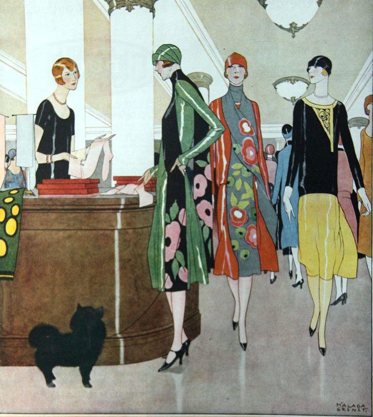 1925 Ladies Home Journal McCallum Silk Hosiery Ad 2 Page Deco Malaga Grenet Dog | eBay