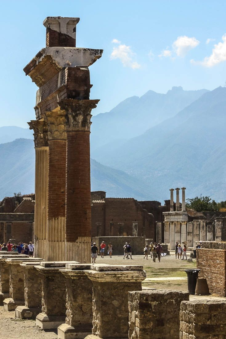 Some of the more intact ruins of Pompeii, a Roman city in modern-day Italy destroyed by the volcano Mount Vesuvius in 79AD. For more information, check out the blog post. #Pompeii #Italy #ruins