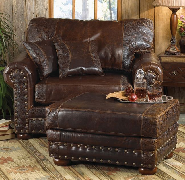 Oversized Leather Chair And Ottoman Kaleigh Twin Sleeper Bed Love This Looks So Comfy Beautiful Rich Color Things For New House Furniture Rustic