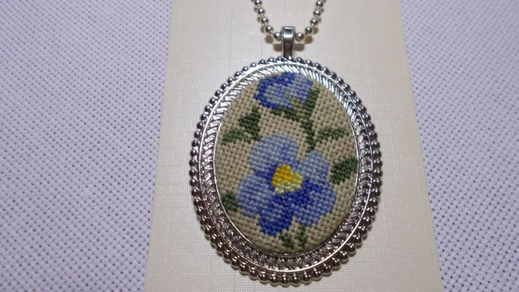Cross stitch necklace, Embroidered blue flower by DoriArt on Etsy