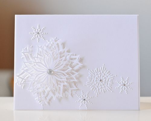 totally love this: Christmas Cards Crafts, Card Club, Beautiful Cards, Card 3D, Cards Christmas White, Card Creations, Card Ideas