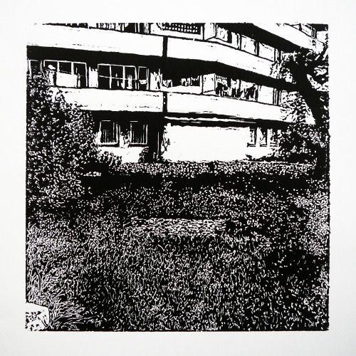 Staničná 351-6 [printmaking, cutting into MDF] #printmaking #woodcut #bunker #art #shelters