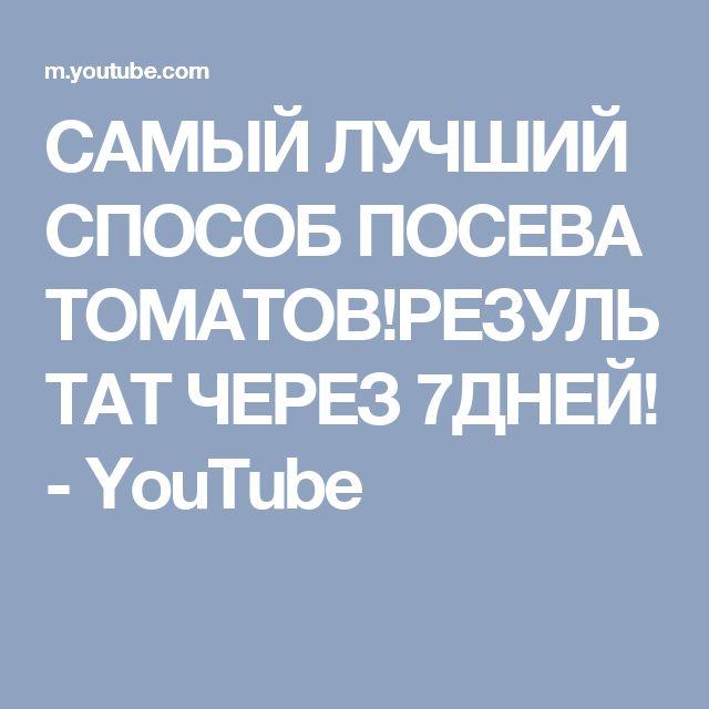 САМЫЙ ЛУЧШИЙ СПОСОБ ПОСЕВА ТОМАТОВ!РЕЗУЛЬТАТ ЧЕРЕЗ 7ДНЕЙ! - YouTube