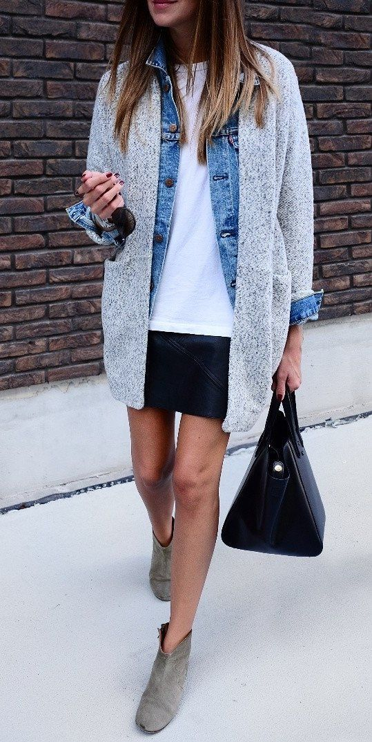 #wintertospring #outfits gray heather cardigan - great layered look for the transition from winter to spring - this is 100% my sort of style | Stylish outfit ideas from Zefinka for women who love fashion.