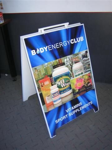 Sandwich board produced and installed by FASTSIGNS Vancouver for Body Energy Club www.fastsigns.com/653