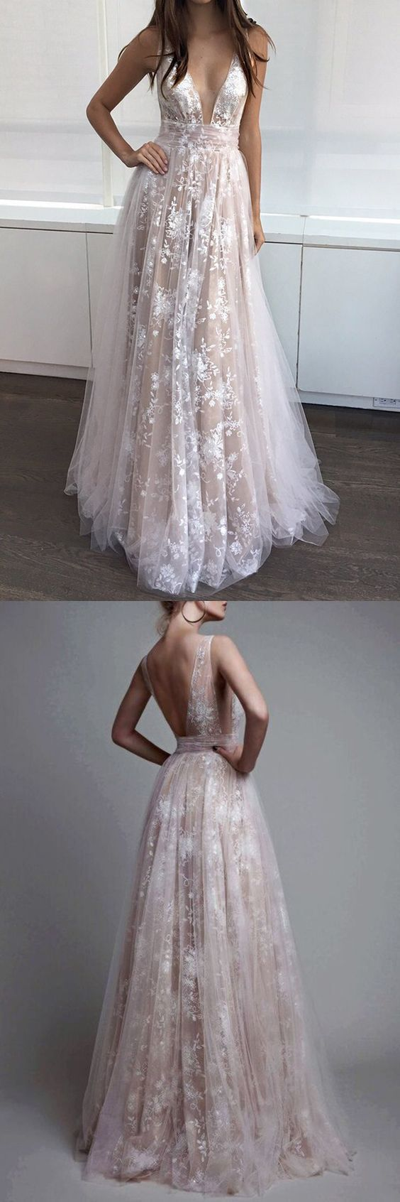 Champagne A-Line V-Neck Appliques Long Prom Dress