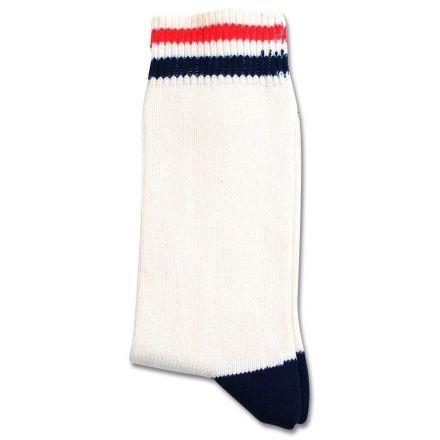 Democratique Socks Relax Two Stripe Broken White/Navy/Spring Red