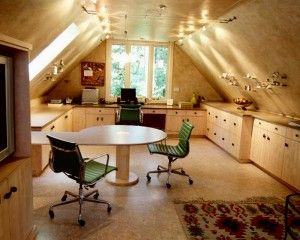 Make A Great Living Space From Your Attic With Round Table And Chair ,rugs, Desk, And Luxuri Design