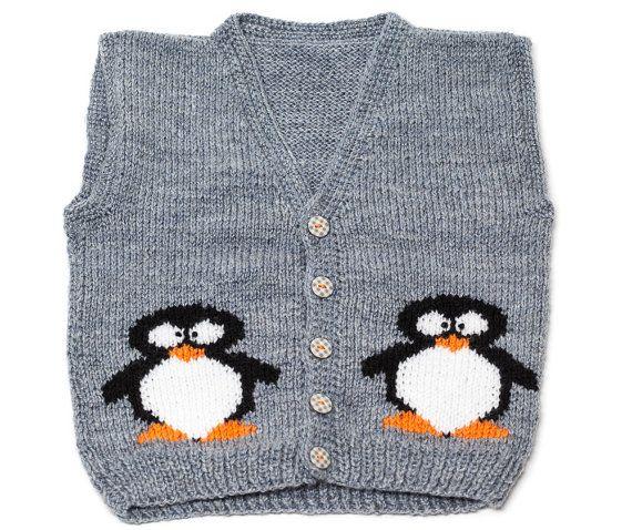 Original hand-knitted baby waistcoat, girl/boy fashion, kitten vest,