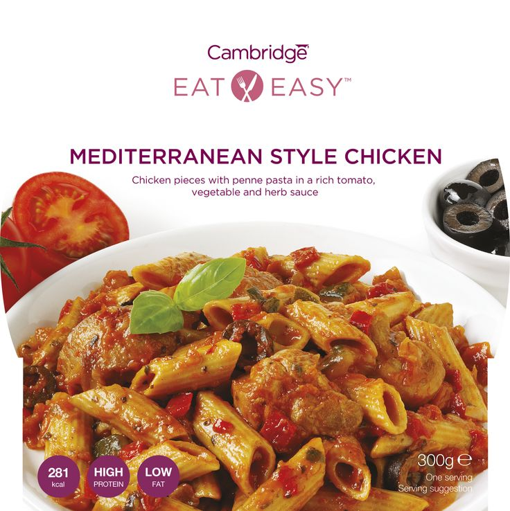 Mediterranean Style Chicken #dieta #cambridge Chicken pieces with penne pasta in a rich tomato, vegetable and herb sauce