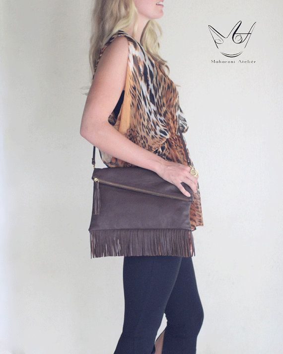 Brown Fringe Leather Cross Body Bag by MAHARANIatelier on Etsy, $120.00