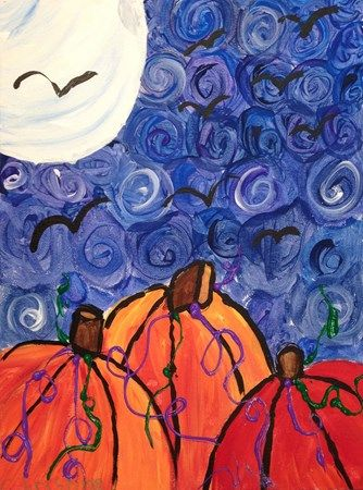 """Night Pumpkins."" This painting was done by a child at the Art Experience Studio in Torrence, California."
