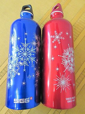 NEW Set of 2 SIGG Water Bottle 1.0L Blue & Red Swiss Made