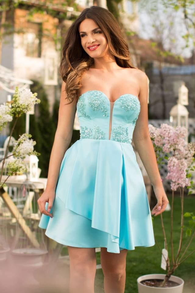 Short turquoise occasion dress made from taffeta and lace: https://missgrey.org/en/dresses/short-occasion-dress-with-turquoise-taffeta-and-precious-embroidery-joy/527?utm_campaign=mai&utm_medium=rochie_joy_turcoaz&utm_source=pinterest_produs