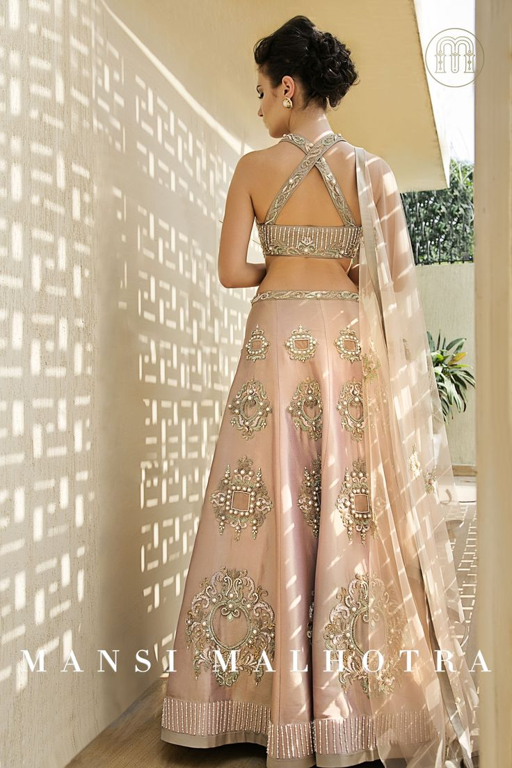 Pink Crepe Lehenga: Pink crepe lehenga with pearls, crystals , sequins and beads hand embroidery