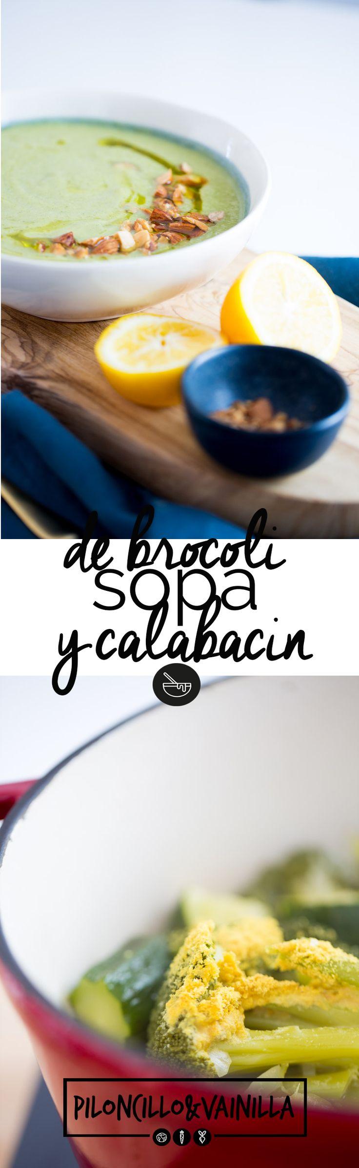 Sopa de brócoli y calabacín con vitamina B12 es la sopa perfecta para cuando queremos comer saludable y delicioso pero cocinando super rápido.  via @piloncilloyv
