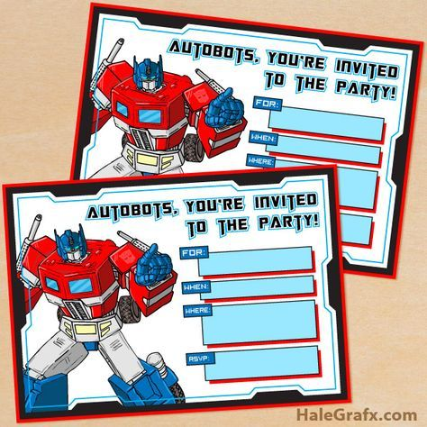 FREE Printable G1 Transformers Birthday Invitation. *I have the rest of this set, and many more free Transformers printables on my superhero printable board*