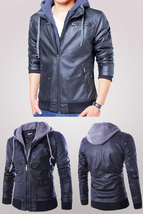 Detachable Hooded Men Faux Leather Jacket Black Biker Motorcycle Men's PU Leather Coat Slim