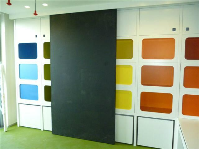 completion of a playroom fit out in ibiza with integrated sliding chalk board #bespokefurniture