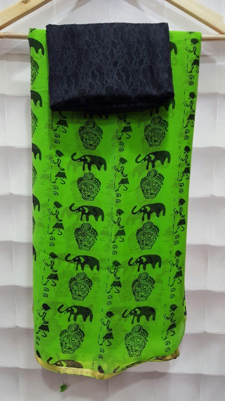 Online pure gerogette saree on elegantfashionwear.com