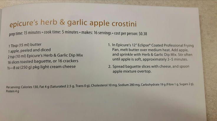 Epicure herb garlic apple crostini