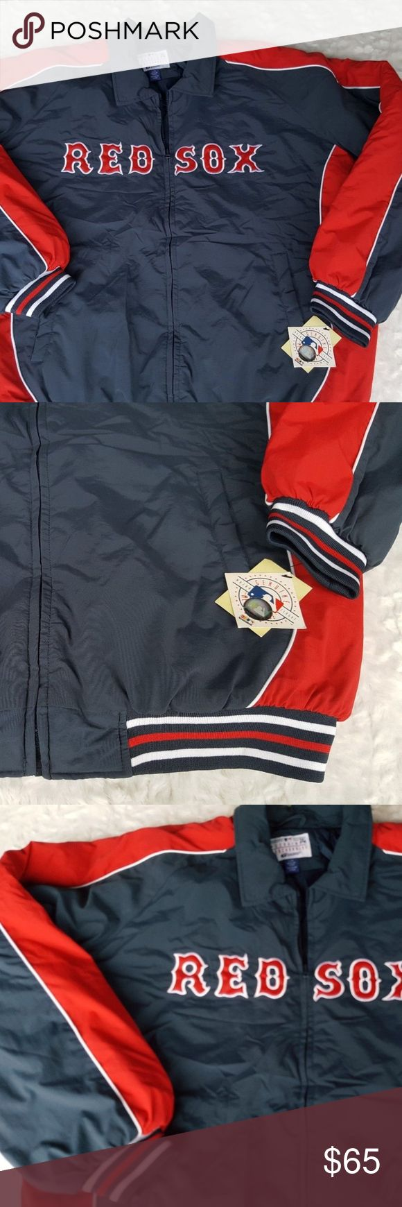 """Mens Boston Red Sox Baseball Jacket (L) RED SOX Winter Jacket Mens Large Genuine Merchandise Boston MLB Baseball Blue  Type: Baseball Apparel Style: Winter Style Jacket Brand: Genuine Merchandise Material: Unknown Color: Blue, Red, White Measurements: Armpit to armpit 26.5"""" flat, Shoulder to hem 29.5"""", Sleeve 34"""" from neck Condition: New, NWT Country of Manufacture: China Genuine Merchandise Jackets & Coats Bomber & Varsity"""