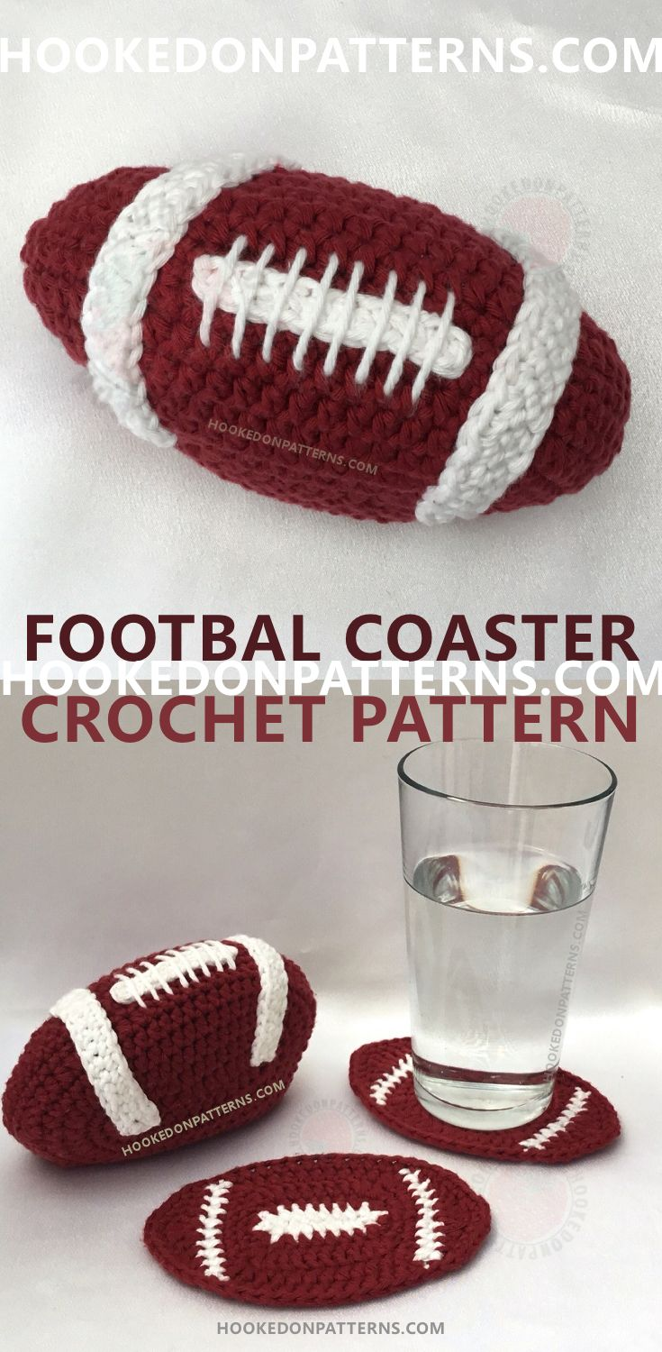 "Football Crochet Pattern - American Football Coaster Set. Crochet this fun football coaster set, 6 shaped coasters in a neat holder. A great Father's Day gift idea, perfect for the ""Man Cave"", student or bachelor's housewarming gift. Great for Superbowl parties! Crochet gift for men."