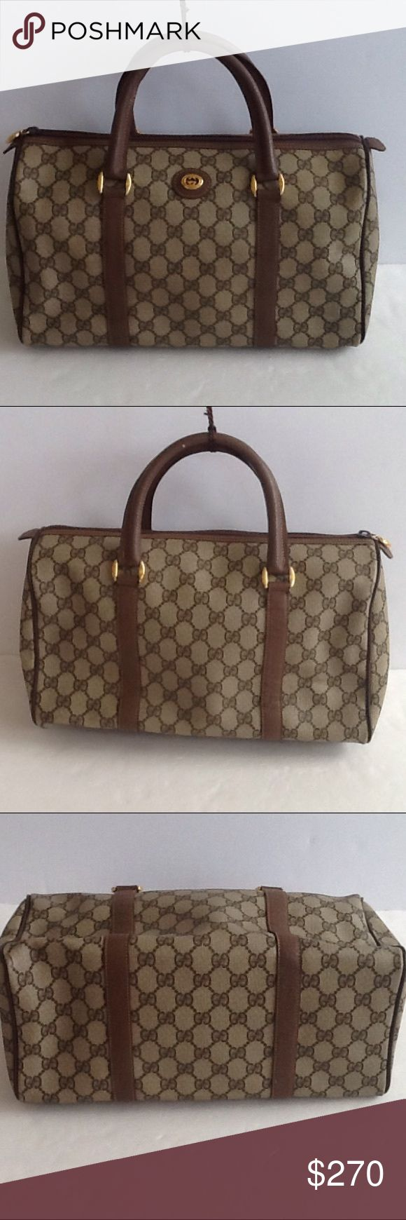 Authentic Gucci Monogram Doctor Brown Satchel Bag Linen showed signs of used. The canvas and leather strap showed light wearing. The bag was made in Italy with a serial number 002-123-0842. The dimension is 8, 12 and 6. Gucci Bags Satchels